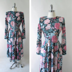 vintage 80's pink roses tea dress bombshell bettys vintage back
