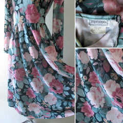 vintage 80's pink roses tea dress bombshell bettys vintage print
