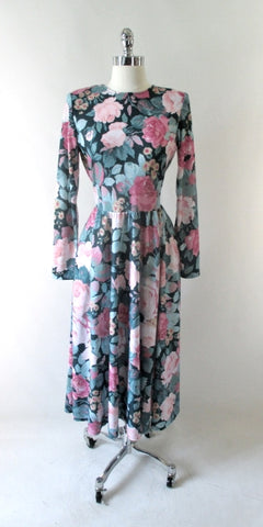 • Vintage 80's Soft Pink Roses Tea Dress M