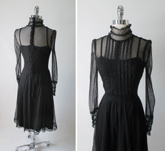 Vintage 80's Black Sheer Lace Prairie Victorian Gothic Tea Dress M - Bombshell Bettys Vintage