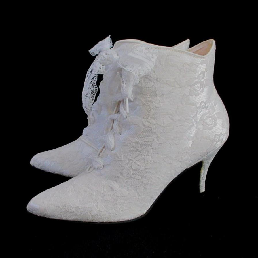 vintage victorian white lace granny wedding boots side 2