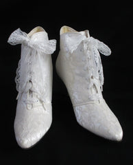 vintage victorian white lace granny wedding boots front