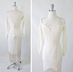 Vintage 80's / 90's Antique White Lace Fringe Bodycon Dress M - Bombshell Bettys Vintage