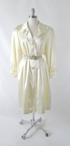 Vintage 80's Ivory White Satin Embossed Alligator Swing Coat L / XL
