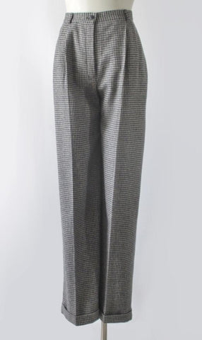 Vintage 80s Black White Herringbone Cuffed Pants / Trousers M