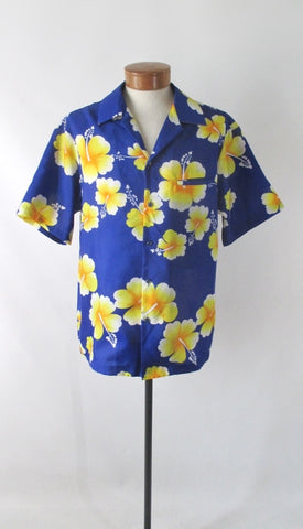 Mens Vintage 80s Hilo Hattie Hawaiian Shirt L