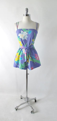Vintage 80s Purple Floral Romper / Playsuit S