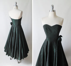 Vintage 90's Laura Ashley Strapless Green Floral Taffeta Party Dress Autumn/Winter 1990 XS - Bombshell Bettys Vintage