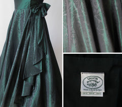 vintage 90's laura ashley strapless sweetheart green full skirt party dress tag