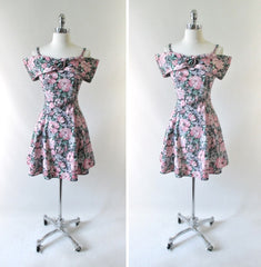 Vintage 80s Off The Shoulder Floral Mini Dress M - Bombshell Bettys Vintage