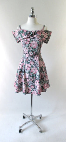 Vintage 80s Off The Shoulder Floral Mini Dress M