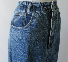Vintage 90's Acid / leather washed tea length denim blue jean skirt M - Bombshell Bettys Vintage right