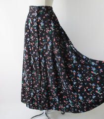 Vintage 90's Button Front Floral Tea Skirt M - Bombshell Bettys Vintage