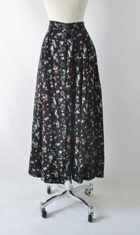 Vintage 90's Button Front Floral Tea Skirt M