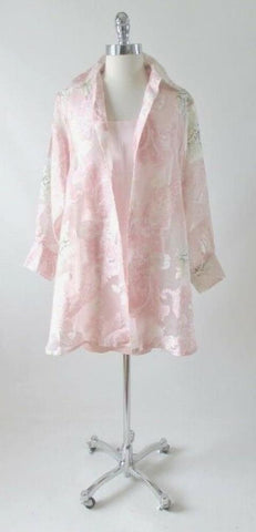 Vintage Sheer Paris Pink 90's Floral Blouse Overshirt Top Shirt One Size
