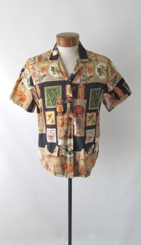 Mens Vintage 90s Hilo Hattie Hawaii Treasures Hawaiian Shirt L