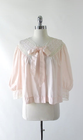 Vintage 40's Barbizon Elfin Peach & Lace Bed Jacket M / L