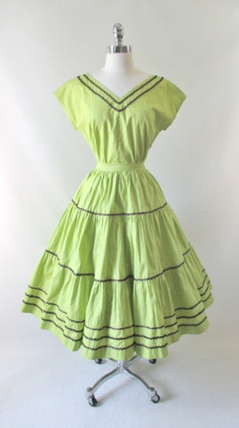 Vintage 50's Chartreuse Squaw Patio Skirt & Top Set M