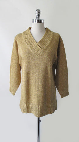 Vintage 90's Diane Von Furstenburg Gold Lurex Tunic Sweater