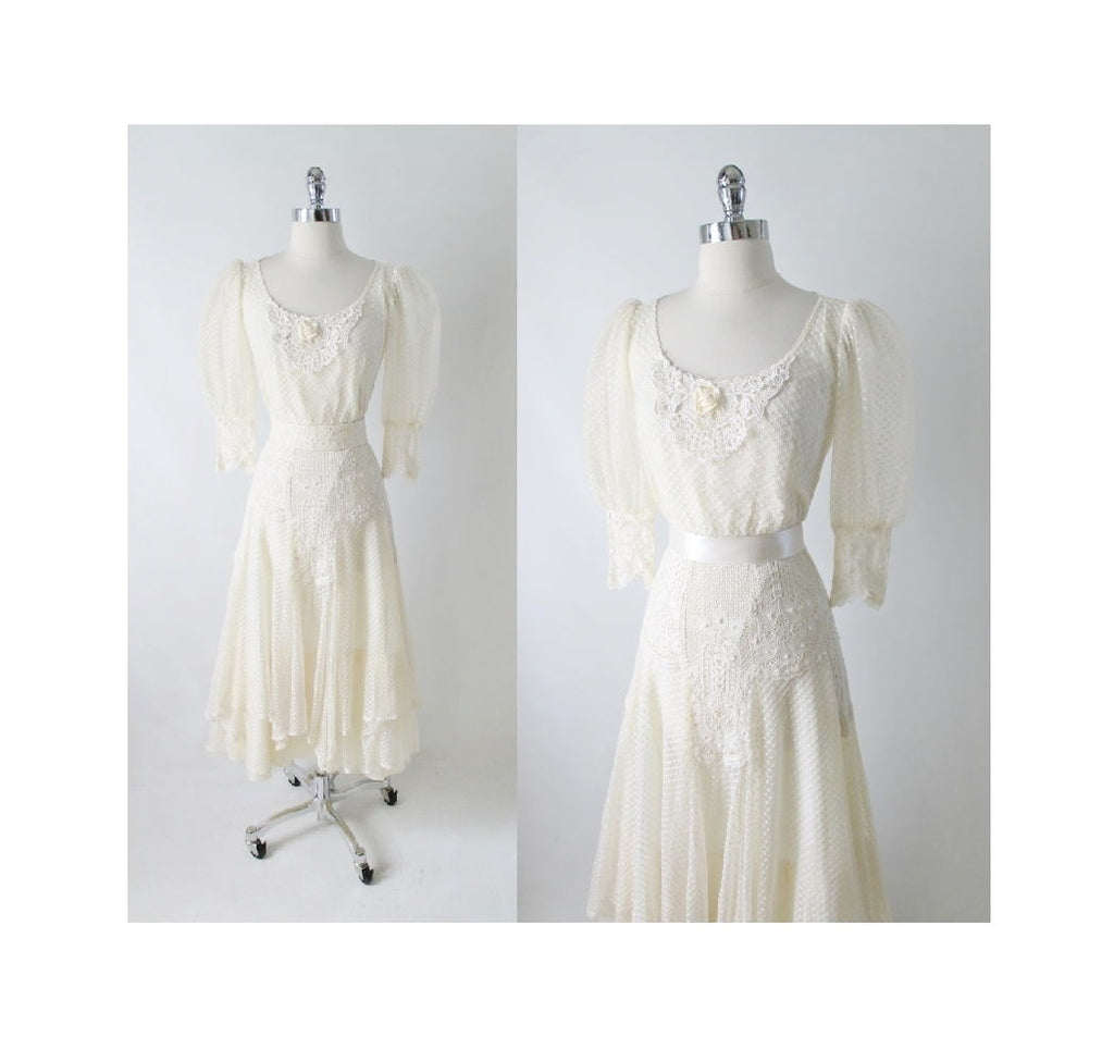 Vintage Antique White Edwardian Style Swiss Dot & Lace Wedding Dress ...