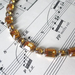 Vintage Emerald Cut Amber Rhinestone Necklace - Bombshell Bettys Vintage