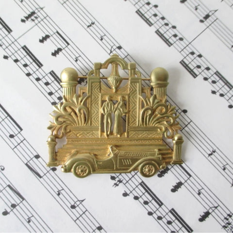 Evening Out Roaring 20's Deco Brooch Pin JJ