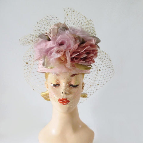 Vintage WHITTALL & SHON Pink Roses Gold Net Veil Pillbox Hat