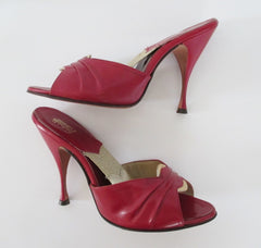 z RARE Vintage 60's  / 50's Bombshell Red Fredericks Of Hollywood Ultra High Springolators 8 New / Old Stock