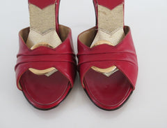 vintage red Fredericks of Hollywood springolators heels shoes toe