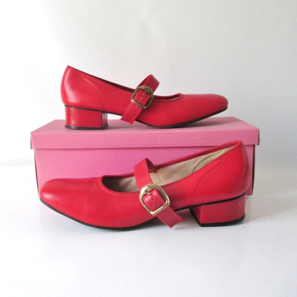 Vintage 60's Red Patent Mary Jane Square Dance Shoes In Box 8 1/2 - Bombshell Bettys Vintage