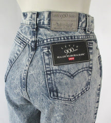 Vintage 90s Levis 900 Stone Wash Pinstripe Jeans NOS S - Bombshell Bettys Vintage