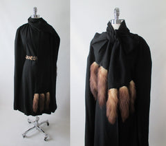 RESERVED Vintage 50's 60's Mink Tail Scarf Black Cape Wrap Coat One Size - Bombshell Bettys Vintage