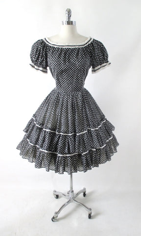 Vintage Black & White Full Circle Skirt Square Dance / Dolly Dress M