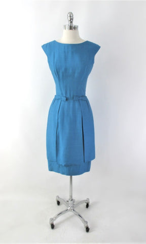 Vintage 60s Blue Dual Split Skirt Party Dress S