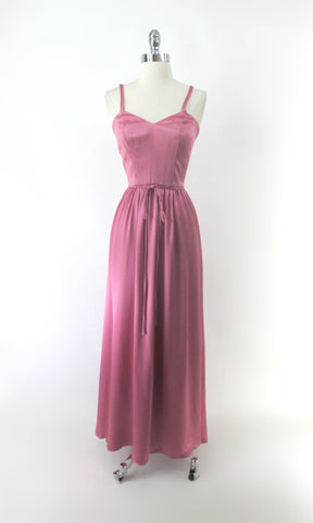 Vintage 70s Pink Satin Party Dress Gown S