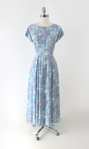 Vintage 50s Watercolor Floral Full Length Gown /  Dress M
