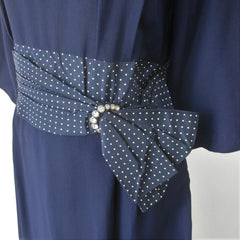 Vintage 50s Navy Blue Polka Dot Party Dress XL