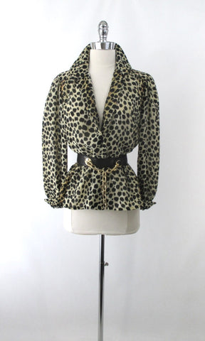 Vintage 70's Semi Sheer Leopard Blouse Top M