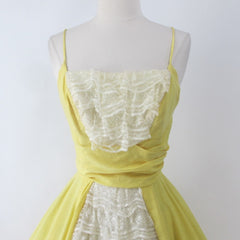 Vintage 50s Sunny Yellow & Lace Lilli Diamond Party Dress XS