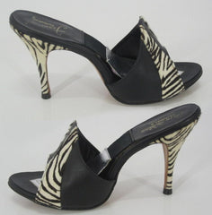 z Vintage 50's 60's Zebra & Black Leather Springolator Mules Heels Shoes 6.5 7