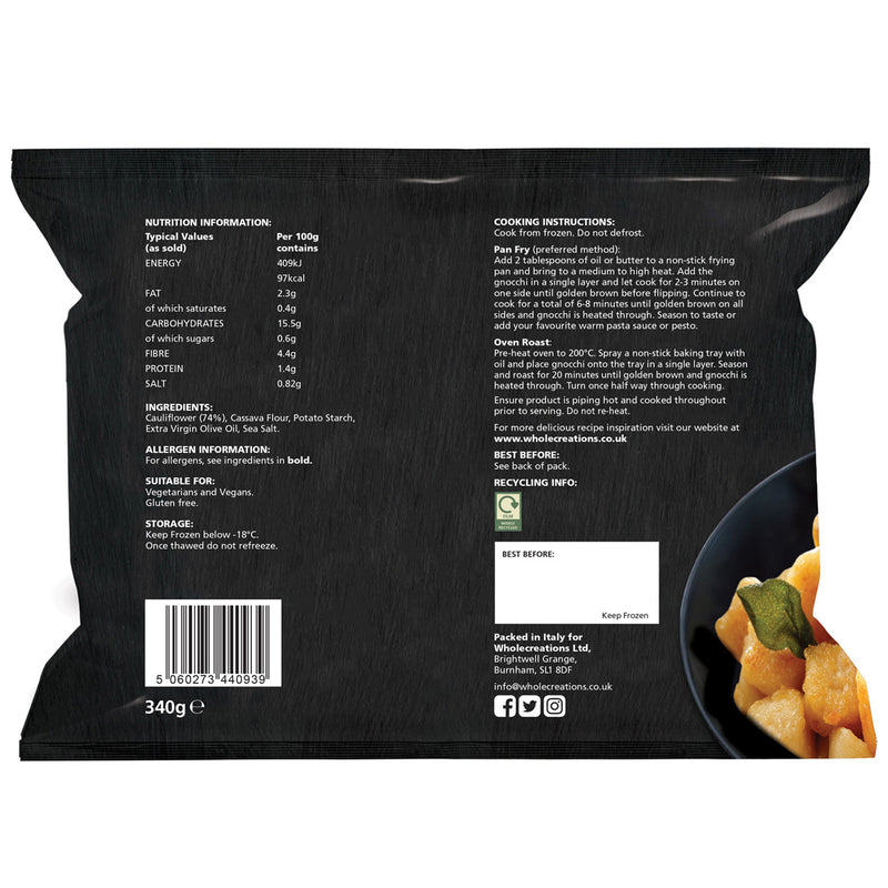 Buy Vegan Food Online | UK Delivery, Dairy Gluten Free Cauliflower Gnocchi, Crispy bites, five natural ingredients, perfect as part of a meal or a tasty snack