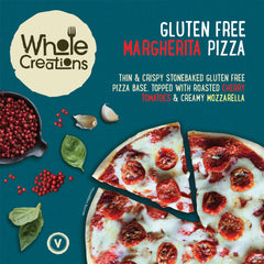 Buy Vegan Food Online | UK Delivery, Thin & Crispy Stonebaked Gluten Free Margherita Pizza, slow roasted cherry tomatoes, creamy mozzarella