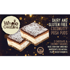 Buy Vegan Food Online | UK Delivery, Dairy Gluten Free posh pudding desserts chocolate & coconut, made from raw unrefined ingredients, natural plant based goodness