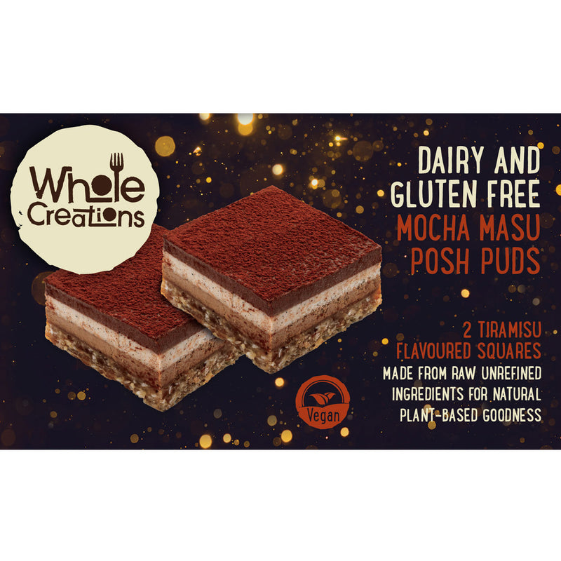 Buy Vegan Food Online | UK Delivery, Dairy Gluten Free posh pudding desserts Tiramisu flavoured, made from raw unrefined ingredients, natural plant based goodness