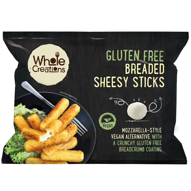 Buy Vegan Food Online | UK Delivery, Dairy Gluten Free Breaded Sheesy Sticks, Crispy bites, mozzarella style vegan alternative, perfect as part of a meal or a tasty snack