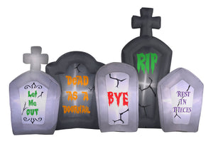 6' Inflatable Flashing Lights Tombstone Scene