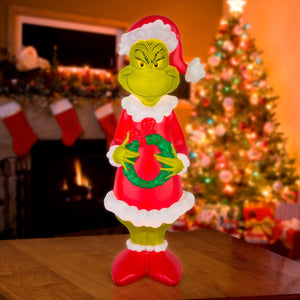 Lighted Blow Mold Outdoor Décor Grinch w/Wreath