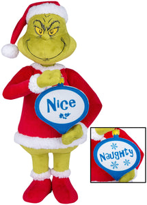 Gemmy Holiday Greeter Grinch w/Naughty and Nice Ornamen