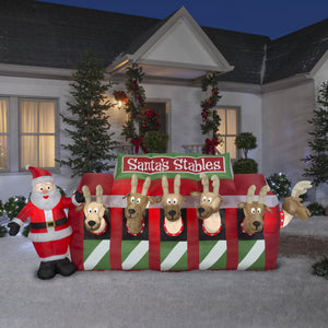 11' Wide Airblown Santa Reindeer Stable Giant Christmas Inflatable