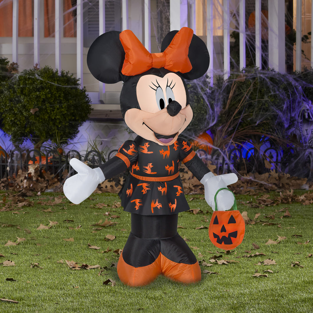 3.5' Airblown Minnie in Black and Orange Dress Halloween Inflatable